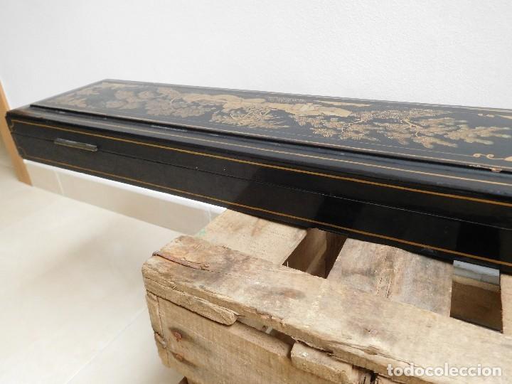 Antigüedades: Bastón de marfil antiguo con su caja lacada original finales de siglo XIX - Foto 49 - 120236743
