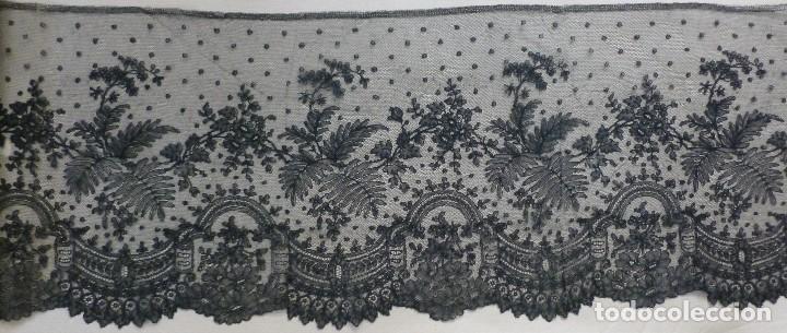 ANTIGUO ENCAJE DE CHANTILLY 8,25 METROS - S.XIX (Antigüedades - Moda - Encajes)