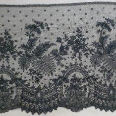 Antigüedades: ANTIGUO ENCAJE DE CHANTILLY 8,25 METROS - S.XIX. Lote 120241507