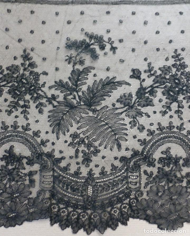 Antigüedades: ANTIGUO ENCAJE DE CHANTILLY 8,25 METROS - S.XIX - Foto 6 - 120241507