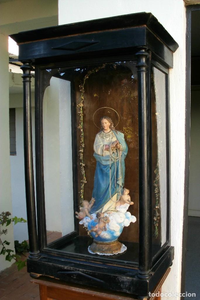VITRINA-CAPILLA ESTILO ISABELINO. HORNACINA PARA SANTO O VIRGEN. GRAN TAMAÑO. SIGLO XIX. (Antigüedades - Religiosas - Varios)