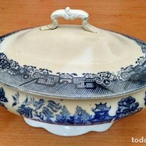 Sopera de porcelana azul