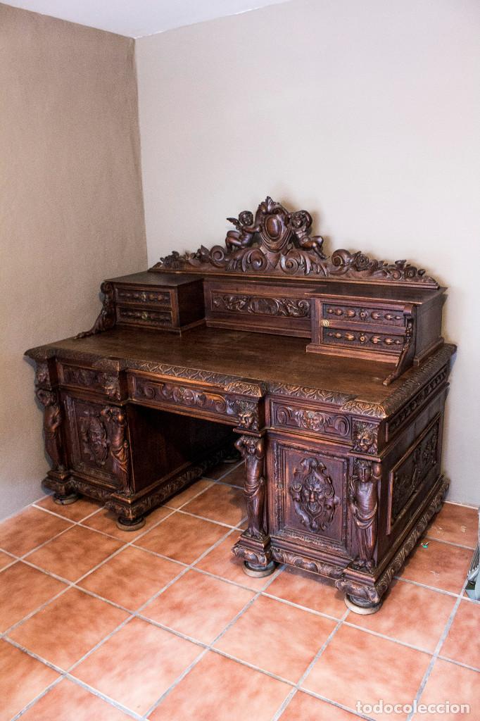 Antigüedades: Mesa despacho del remordimiento en óptimas condiciones - Foto 2 - 120288019