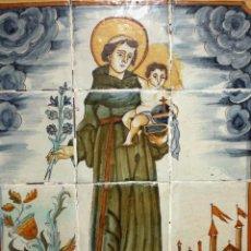 Antigüedades: SANT ANTONIO CON EL NIÑO. IMPORTANTE PLAFON CON 12 AZULEJOS CATALANES DEL SIGLO XVIII. Lote 120312055