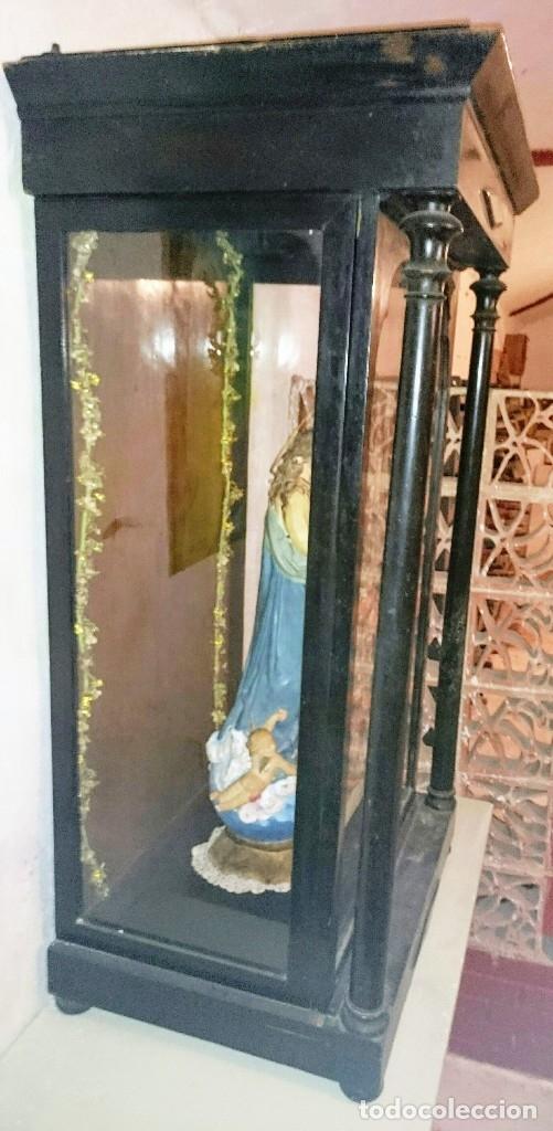 Antigüedades: VITRINA-CAPILLA ESTILO ISABELINO. HORNACINA PARA SANTO O VIRGEN. GRAN TAMAÑO. SIGLO XIX. - Foto 5 - 147263440