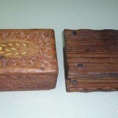 Antigüedades: 2 CAJITAS DECORATIVAS DE MADERA. 15 X 10CM. Lote 120362911