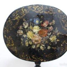 Antigüedades: VELADOR FINALES SIGLO XIX, PINTADO CON ESCENAS DE FLORES.. Lote 120394551