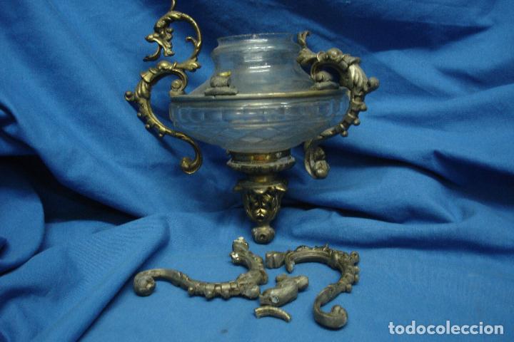 ANTIGUA LAMPARA DE CRISTAL Y METAL DEL SIGLO XIX (Antigüedades - Iluminación - Lámparas Antiguas)