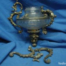 Antigüedades: ANTIGUA LAMPARA VOTIVA DE CRISTAL Y METAL DEL SIGLO XIX. Lote 120461279