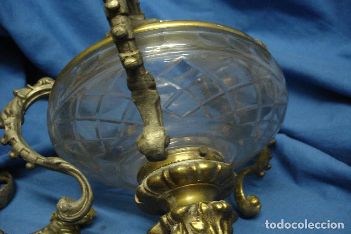 Antigüedades: ANTIGUA LAMPARA DE CRISTAL Y METAL DEL SIGLO XIX - Foto 4 - 120461279