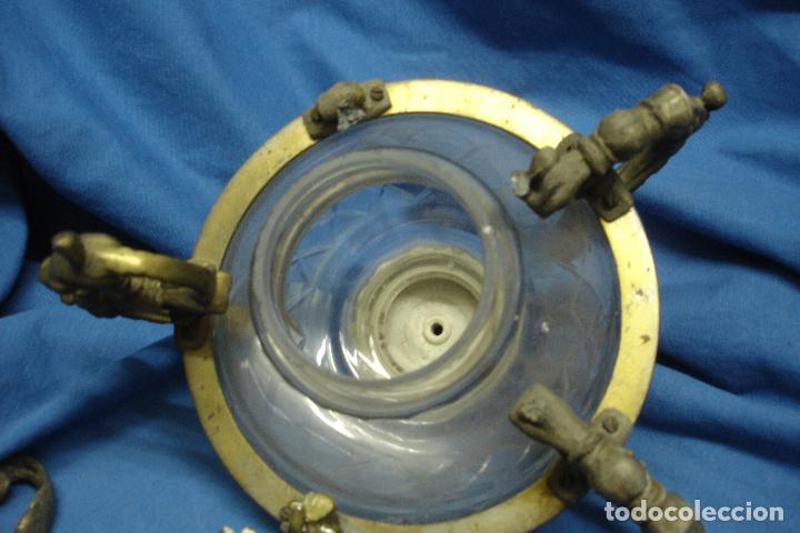 Antigüedades: ANTIGUA LAMPARA DE CRISTAL Y METAL DEL SIGLO XIX - Foto 5 - 120461279
