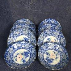 Antigüedades: CONJUNTO OCHO PLATOS HONDOS CERÁMICA JAPONESA JAPÓN TONOS AZULADOS MOTIVOS FLORALES AÑOS 70. Lote 120474023