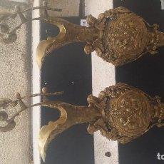 Antigüedades: PAREJA DE JARRONES BRONCE . Lote 120511199