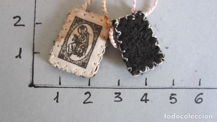 Antigüedades: LOTE DE 4 ANTIGUOS ESCAPULARIOS SIGLO XIX - NTRA. SRA. DEL CARMEN - Foto 3 - 120513543