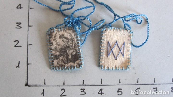 Antigüedades: LOTE DE 4 ANTIGUOS ESCAPULARIOS SIGLO XIX - NTRA. SRA. DEL CARMEN - Foto 5 - 120513543