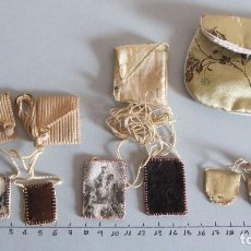 Antigüedades: LOTE DE 3 ANTIGUOS ESCAPULARIOS SIGLO XIX - NTRA. SRA. DEL CARMEN. Lote 120514123