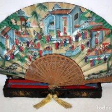 Antigüedades: ABANICO CHINO DE LAS MIL CARAS (CANTON) SG XIX. VARILLAJE EN MADERA Y PAIS PINTADO.CON CAJA ORIGINAL. Lote 120527735