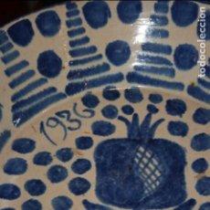 Antigüedades: GRANADA.FUENTE LEBRILLO DE FAJALAUZA FECHADA EN 1936 AÑO INICIO DE LA GUERRA CIVIL. MIDE 38X11 CMS.. Lote 120561667