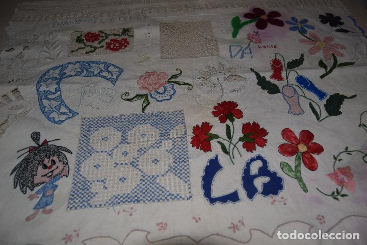Antigüedades: lote de seis dechados o muestrario de bordados y vainicas - Foto 5 - 120579087