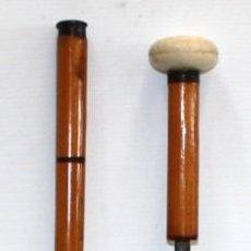 Antigüedades: BASTON DE ESTOQUE CON EMPUÑADURA DE MARFIL Y CAÑA. CIRCA 1920. Lote 120628127