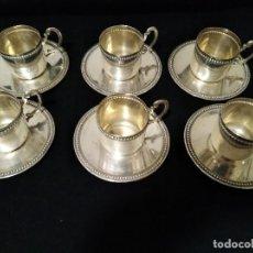 Antigüedades: ANTIGUO JUEGO DE CAFÉ BAÑO PLATA. Lote 120633023
