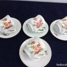 Antigüedades: JUEGO ANTIGUO DE 4 TAZAS CAFÉ EN PORCELANA DE LIMOGES SIGLO XIX. Lote 120677319