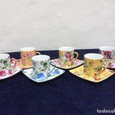 Antigüedades: JUEGO DE 6 TAZAS DE CAFÉ EN PORCELANA. Lote 120682831