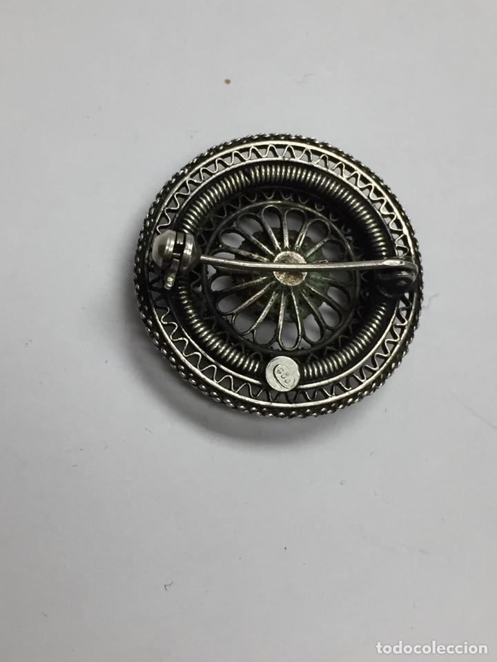 Antigüedades: Broche de plata de 800 milésimas y ámbar - Foto 2 - 120733059