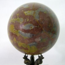 Antigüedades: ANTIGUA BOLA DE PIEDRA PULIDA 3 KG - PEDESTAL DE BRONCE - GABINETE CURIOSIDADES. Lote 120761955