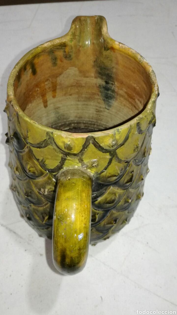 Antigüedades: Jarra antigua de barro muy bonita verdosa amarilla - Foto 2 - 120782942