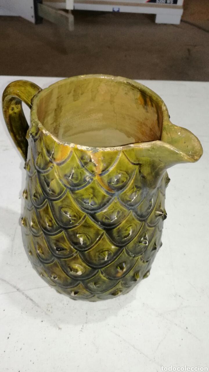 Antigüedades: Jarra antigua de barro muy bonita verdosa amarilla - Foto 3 - 120782942
