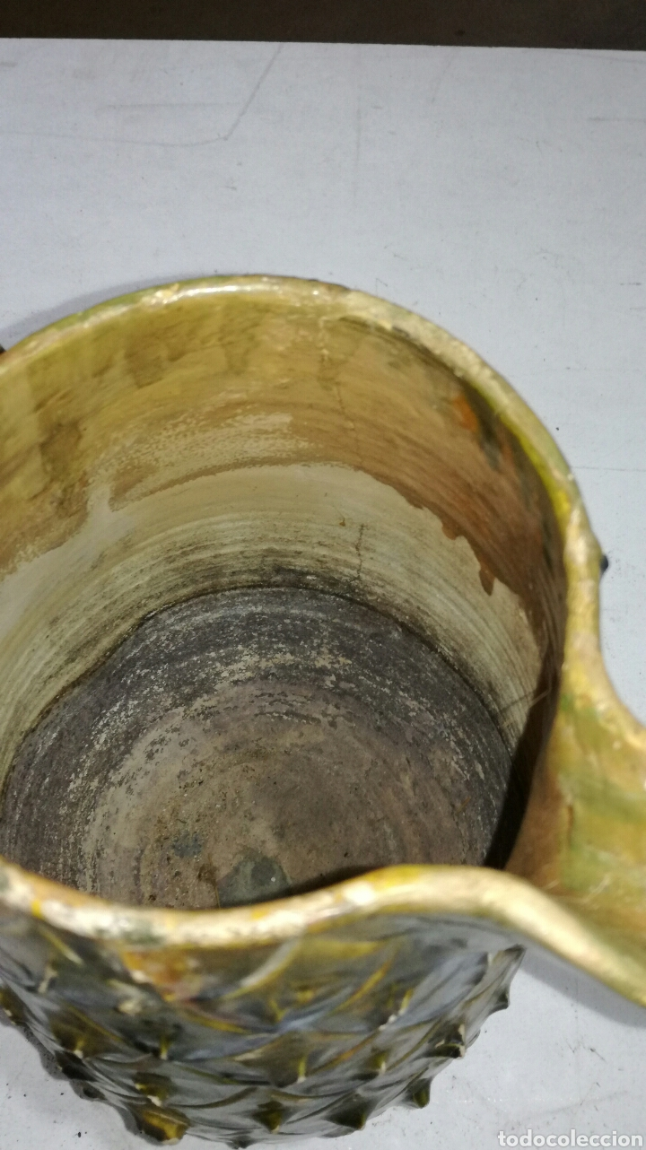 Antigüedades: Jarra antigua de barro muy bonita verdosa amarilla - Foto 5 - 120782942