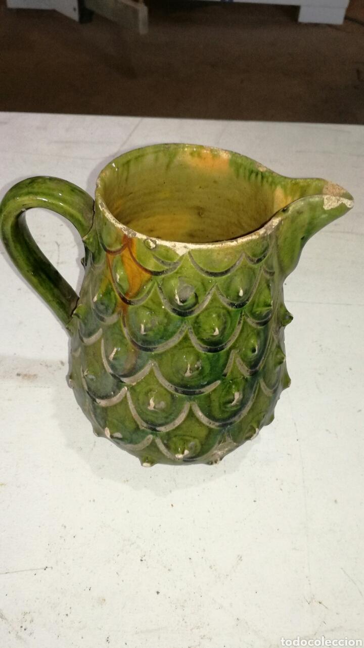 Antigüedades: Jarra antigua de barro muy bonita vidriada verde - Foto 3 - 120783720