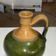 Antigüedades: CANTARO ANTIGUO DE BARRO VIDRIADO MUY BONITO VERDE. Lote 120784986
