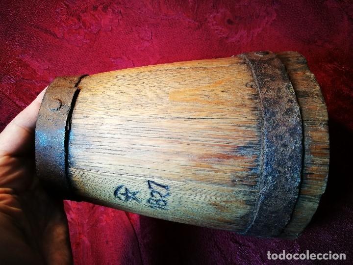 Antigüedades: MESURA-MEDIDA DE GRANO-ORIGINAL 1827-CON MARCAJE MADERA CASTAÑO.CELEMIN-CUARTERA-FANEGA - Foto 10 - 120794699