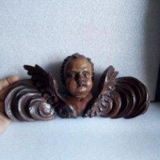 Antigüedades: ANGEL TALLADO EN MADERA 30 X 12 CM APROX MUY ANTIGUO Y PRECIOSO (2) ANGELOTE. Lote 120819519