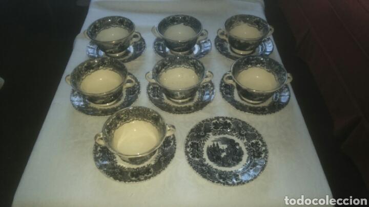PRECIOSO LOTE CONSOME PICKMAN PORCELANA SEVILLANA LA CARTUJA. MUY ANTIGUA. (Antigüedades - Porcelanas y Cerámicas - La Cartuja Pickman)