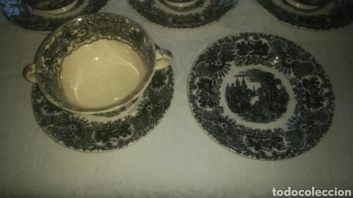 Antigüedades: Precioso lote consome Pickman porcelana sevillana La Cartuja. Muy antigua. - Foto 2 - 120826258