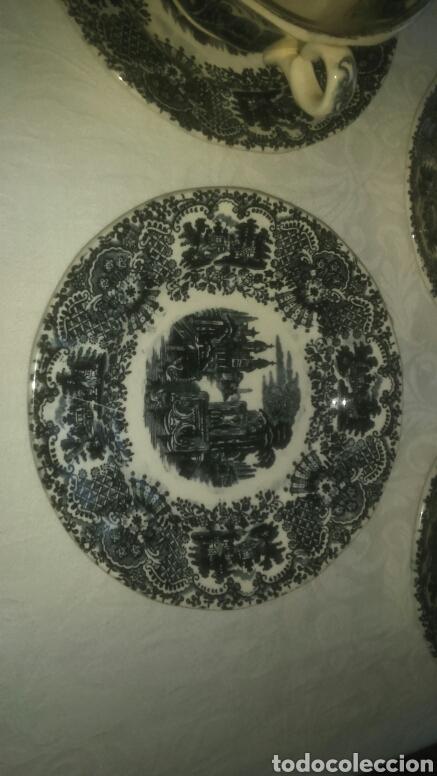 Antigüedades: Precioso lote consome Pickman porcelana sevillana La Cartuja. Muy antigua. - Foto 3 - 120826258