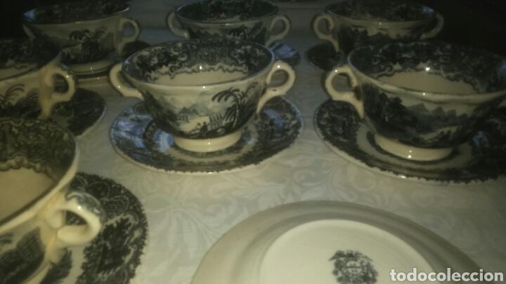 Antigüedades: Precioso lote consome Pickman porcelana sevillana La Cartuja. Muy antigua. - Foto 7 - 120826258