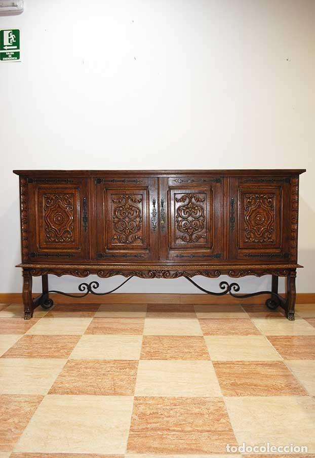 APARADOR ANTIGUO MADERA DE ROBLE TALLADA (Antigüedades - Muebles Antiguos - Aparadores Antiguos)