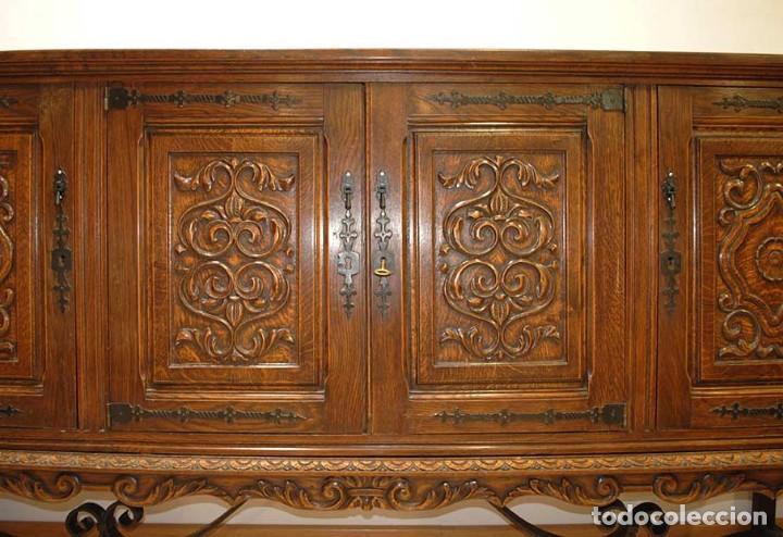 Antigüedades: APARADOR ANTIGUO MADERA DE ROBLE TALLADA - Foto 4 - 140856029