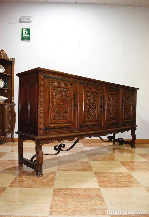Antigüedades: APARADOR ANTIGUO MADERA DE ROBLE TALLADA - Foto 6 - 140856029