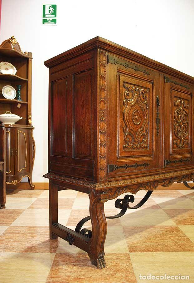 Antigüedades: APARADOR ANTIGUO MADERA DE ROBLE TALLADA - Foto 7 - 140856029