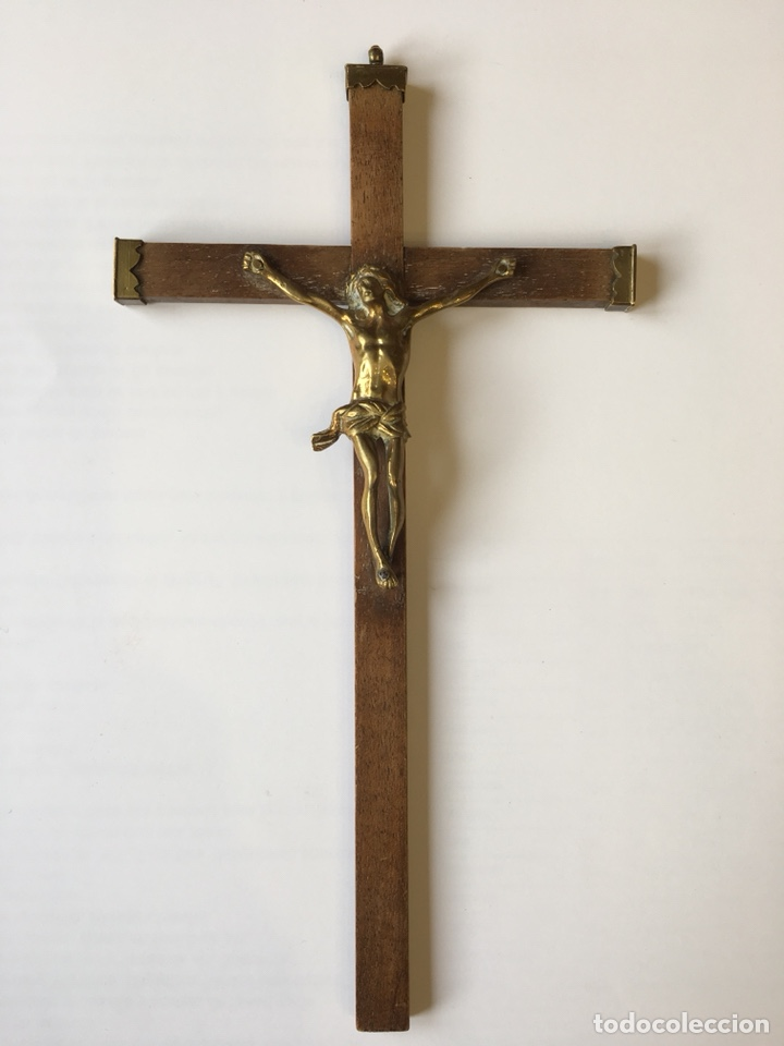 Antigüedades: ANTIGUO CRUCIFIJO CON CRISTO DE BRONCE - SIGLO XVIII - Foto 2 - 120834018