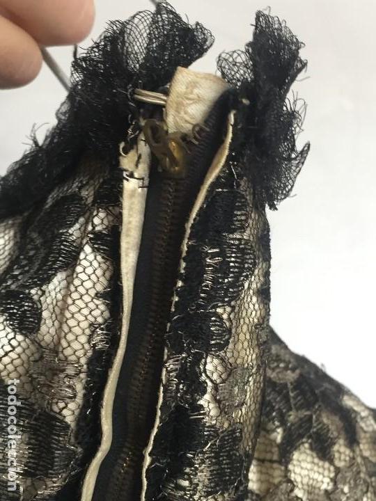 Antigüedades: vestido de fiesta tul negro fondo seda vainilla encaje escote palabra de honor años 40 50 - Foto 3 - 120878055
