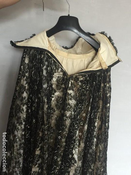 Antigüedades: vestido de fiesta tul negro fondo seda vainilla encaje escote palabra de honor años 40 50 - Foto 11 - 120878055