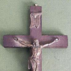 Antigüedades: CRUCIFIJO DE MADERA. CRISTO DE PLATA. SIGLO XX. . Lote 120878455