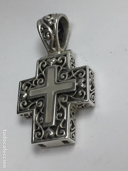 Antigüedades: Colgante Cruz en plata y nacar - Foto 3 - 120913291