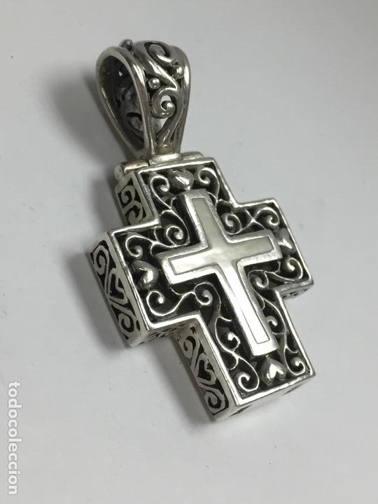 Antigüedades: Colgante Cruz en plata y nacar - Foto 4 - 120913291